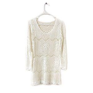 Crochet Long Sleeve Coverup Dress
